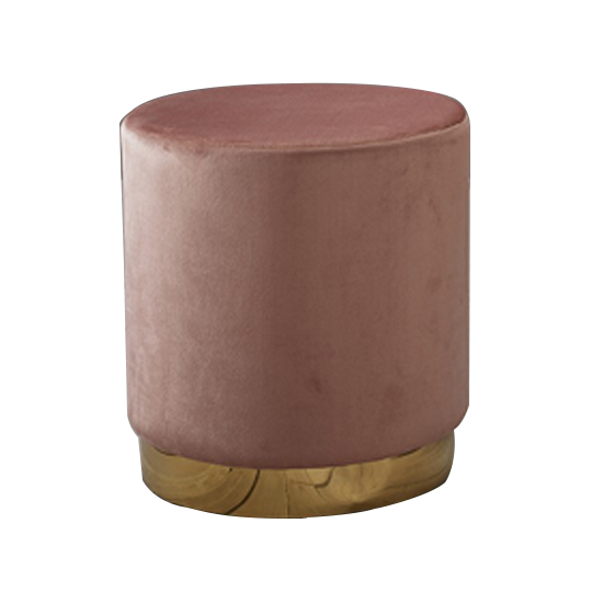 Lara Velvet Pouffe In Dusty Pink