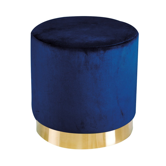 Lara Velvet Pouffe In Royal Blue