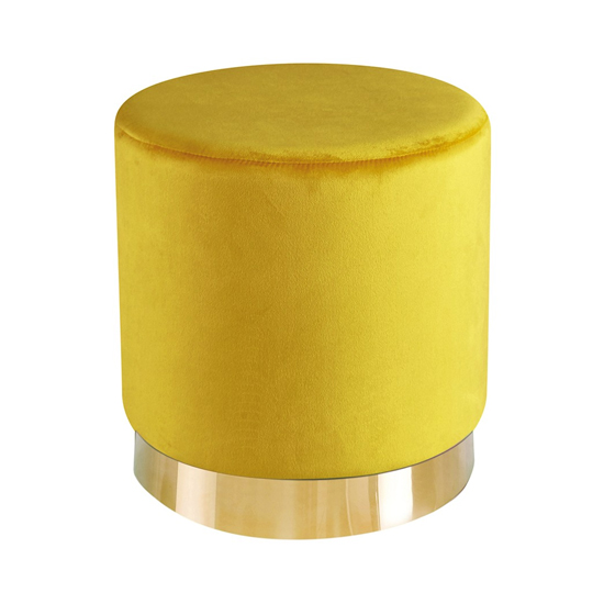 Lara Velvet Pouffe In Yellow