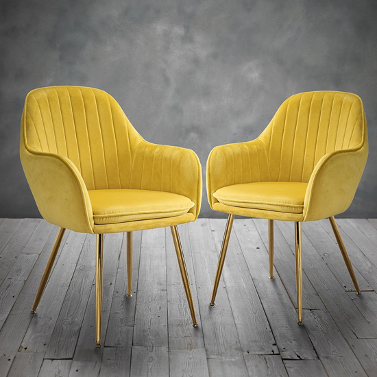 Lara Yellow Dining Chair With Gold Legs In Pair_2