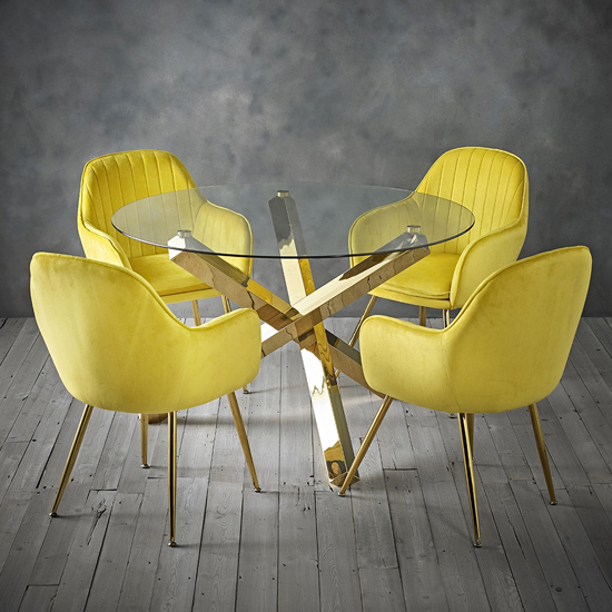 Lara Yellow Dining Chair With Gold Legs In Pair_3