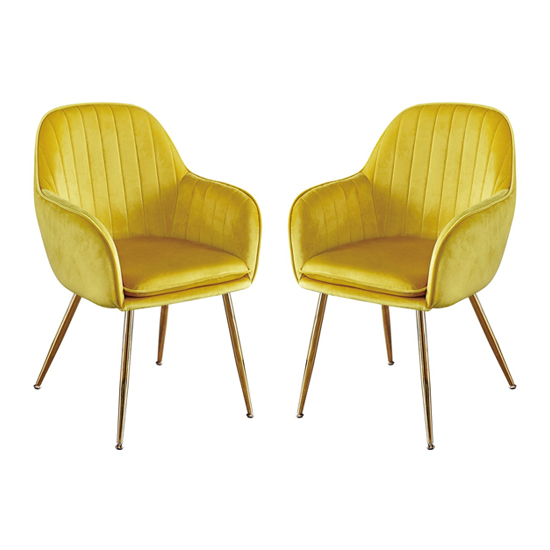 Lara Yellow Dining Chair With Gold Legs In Pair_1
