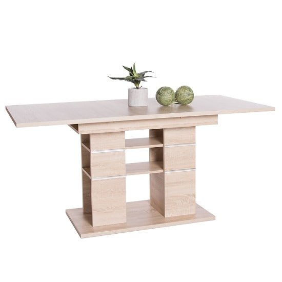 Larino Wooden Extendable Dining Table In Sonoma Oak
