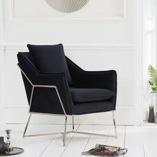 Larne Velvet Accent Lounge Chair In Black With Chrome Frame