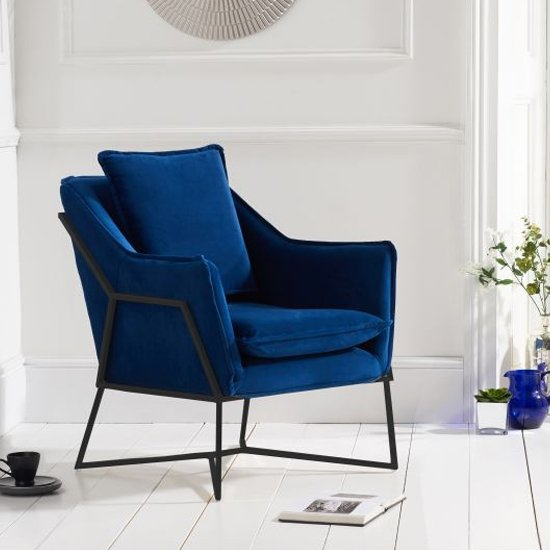 Larne Velvet Accent Lounge Chair In Blue With Black Frame