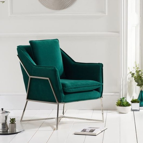 Larne Velvet Accent Lounge Chair In Green With Chrome Frame