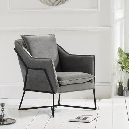 Larne Velvet Accent Lounge Chair In Grey With Black Frame