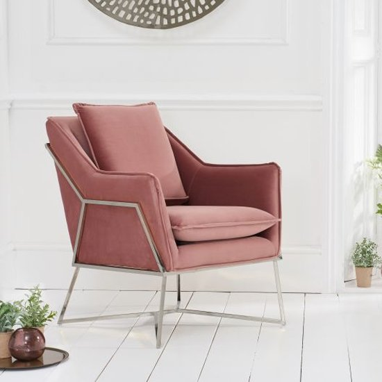 Larne Velvet Accent Lounge Chair In Pink With Chrome Frame