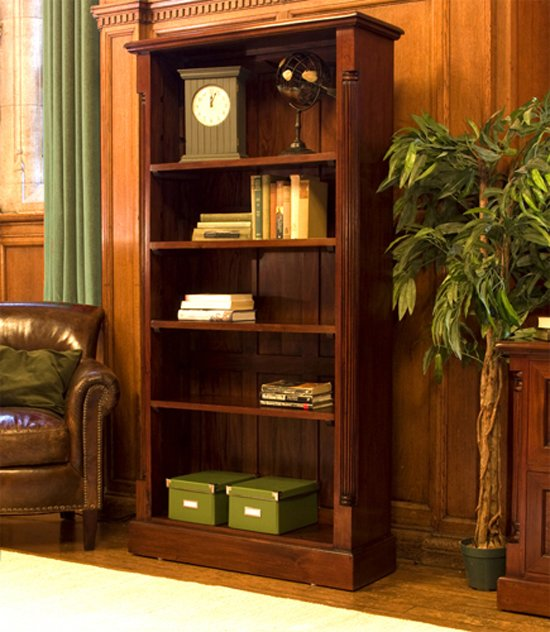 Belarus Tall Open Bookcase In Mahogany