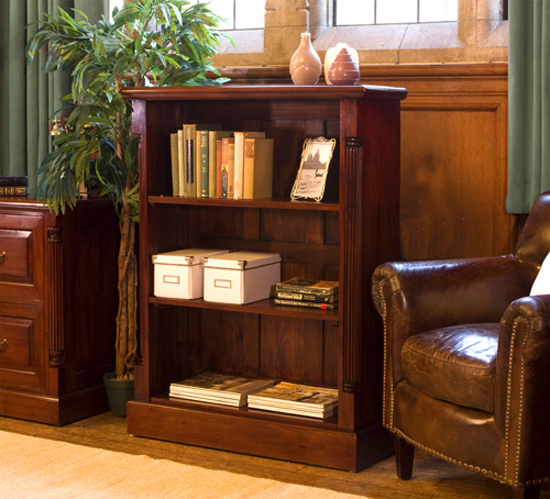 Belarus Wooden Low Open Bookcase In Mahogany
