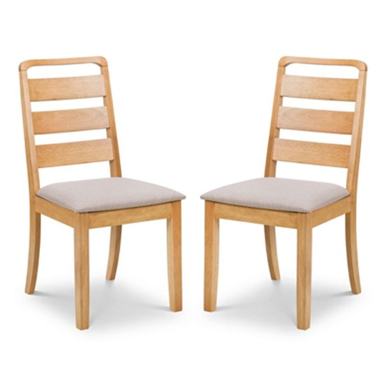 Lars Light Oak Dining Chair In Pair
