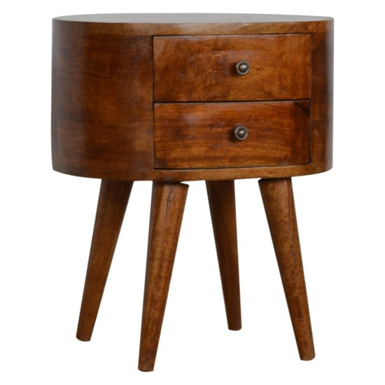 View Lasix wooden circular bedside cabinet in chestnut with 2 drawers