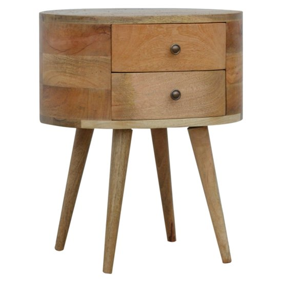 Lasix Wooden Circular Bedside Cabinet In Oak Ish With 2 Drawers