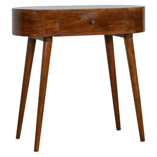 View Lasix wooden circular console table in chestnut with 1 drawer