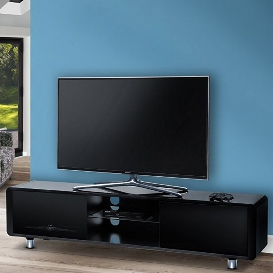 Lasker Wooden TV Stand In Black High Gloss With Two Doors