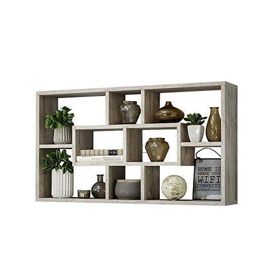 Lasse Bookcase Wall Shelves In Sand Oak With 8 Compartments