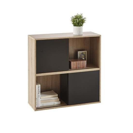 Photo of Lasse square bookcase in oak with 2 sliding doors in black