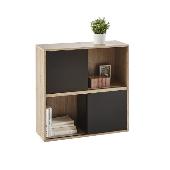 Lasse Square Bookcase In Oak With 2 Sliding Doors In Black