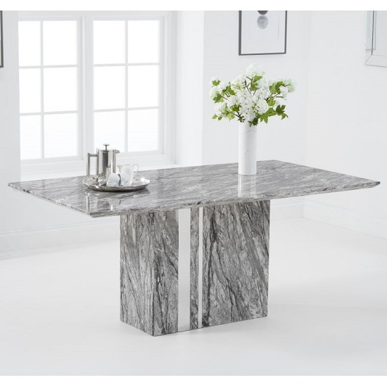 Laster Marble Rectangular Dining Table In Grey Finish