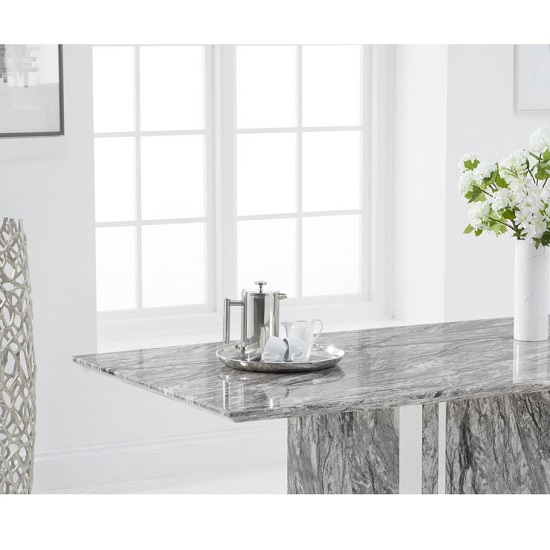 Laster Marble Rectangular Dining Table In Grey Finish_3