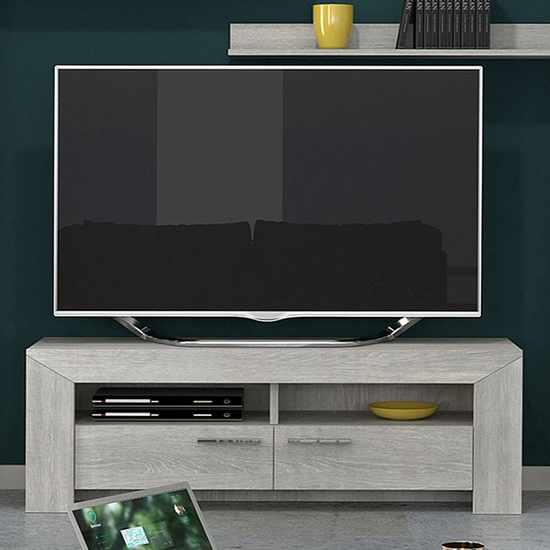 Lathi Wooden TV Stand In Grey Oak With 2 Drawers 2 Shelves
