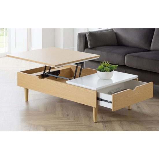 View Latimer lift-up storage coffee table in white high gloss and oak