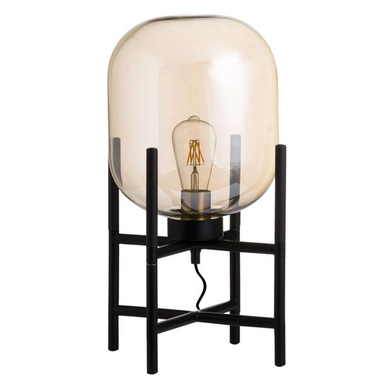 View Latinas vintage industrial glass glow table lamp in black
