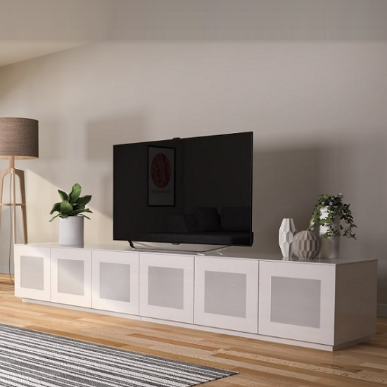 Latvia Large Glass TV Stand In White High Gloss