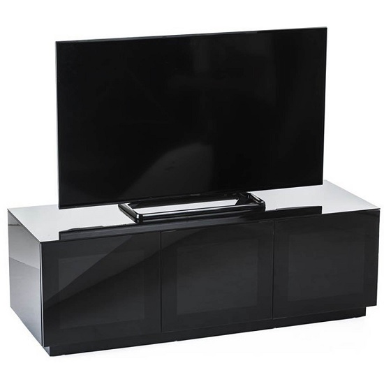 Latvia Modern Glass TV Stand In Black High Gloss