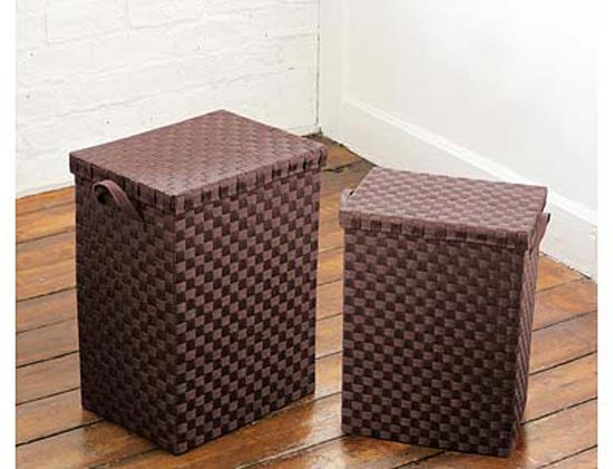 Set Of 2 Brown Paper Woven Laundry Baskets With Handles