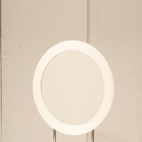 Laura Wall Mirror Round In White Frame