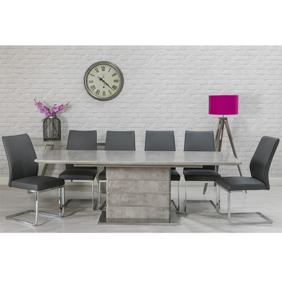 Laurel Extendable Dining Table Concrete Effect 6 Presto Chairs