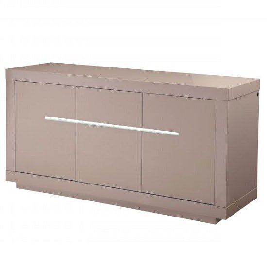 Laurent Modern Sideboard In Cream High Gloss With LED