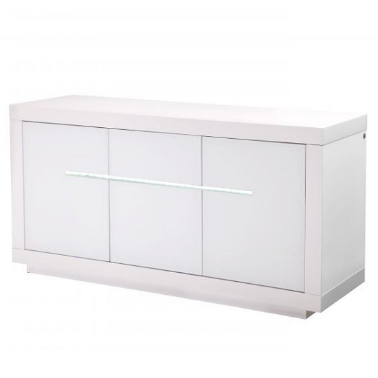Laurent Modern Sideboard In White High Gloss With LED