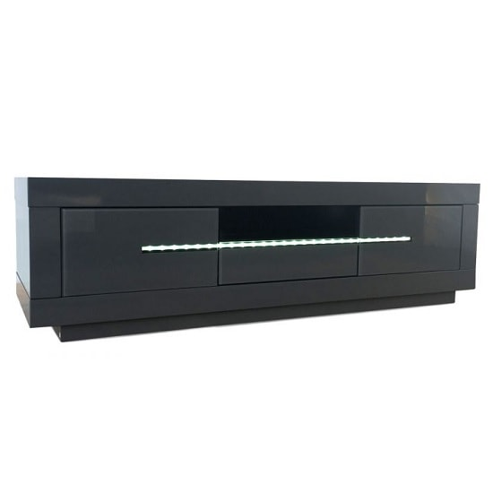 Laurent Contemporary TV Stand In Grey High Gloss With LED