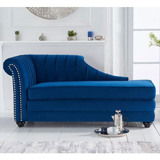 Laurn Velvet Left Facing Arm Lounge Chaise In Blue