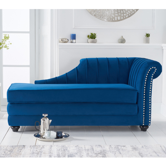 Laurn Velvet Right Facing Arm Lounge Chaise In Blue