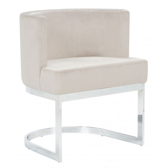 Lauro Beige Velvet Dining Chair With Silver Stainless Steel Legs