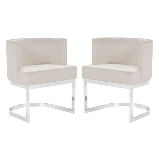 Lauro Beige Velvet Dining Chairs In Pair With Silver Legs
