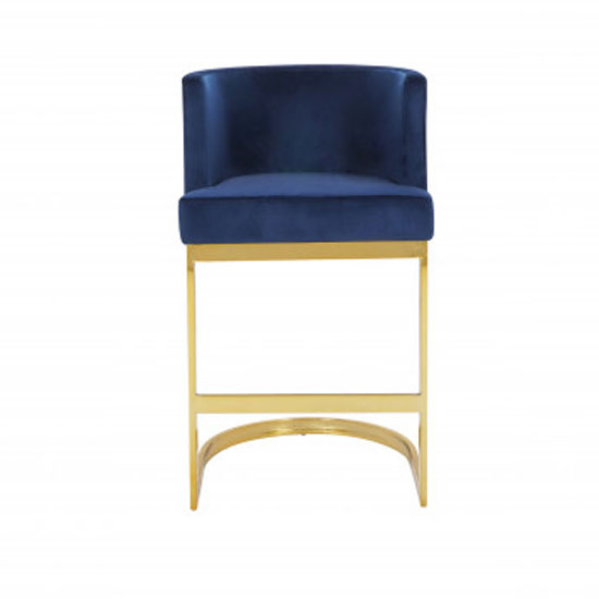 Lauro Blue Velvet Bar Chairs In Pair With Gold Legs_2