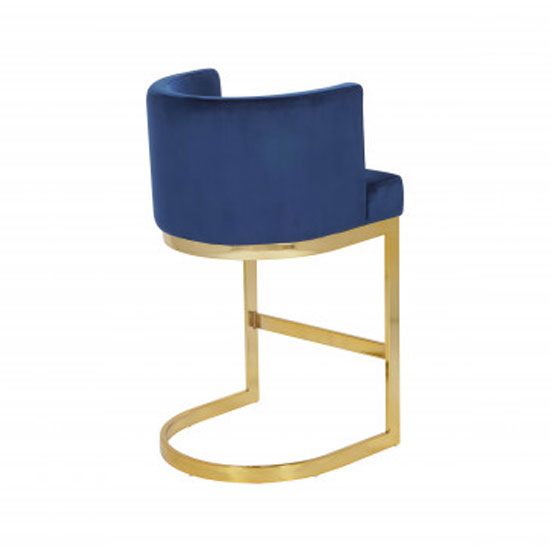 Lauro Blue Velvet Bar Chairs In Pair With Gold Legs_3