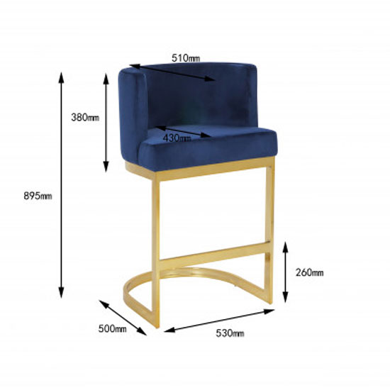 Lauro Blue Velvet Bar Chairs In Pair With Gold Legs_4