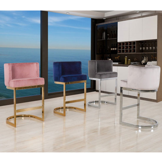 Lauro Blue Velvet Bar Chairs In Pair With Gold Legs_5