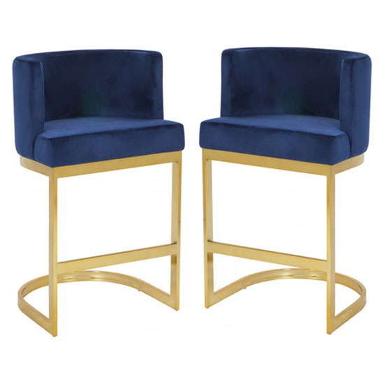 Lauro Blue Velvet Bar Chairs In Pair With Gold Legs_1