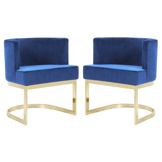 Lauro Blue Velvet Dining Chairs In Pair With Gold Legs