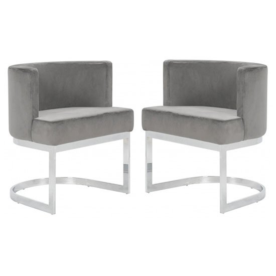 Lauro Grey Velvet Dining Chairs In Pair With Silver Legs