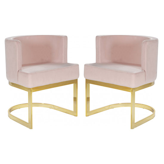 Lauro Pink Velvet Dining Chairs In Pair With Gold Legs