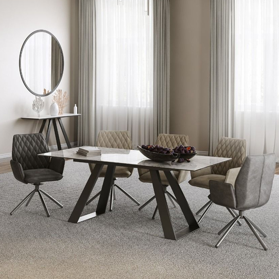 Lavante Ceramic And Glass Extending Dining Table In Light Grey_2