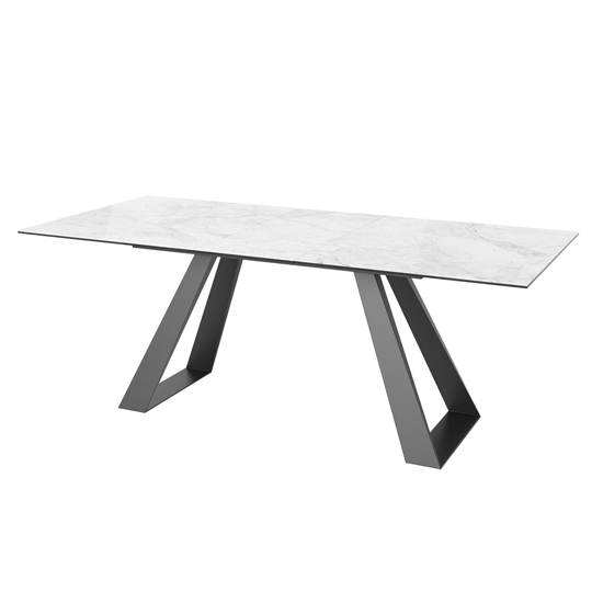 Lavante Ceramic And Glass Extending Dining Table In Light Grey_1