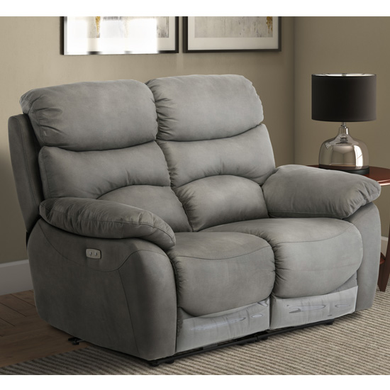 Layla Fabric Electric Recliner 2 Seater Sofa In Grey_1